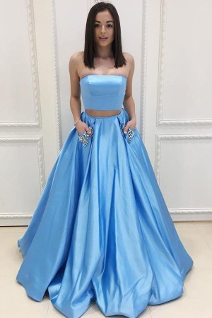 Simple Sweep Train Blue Two Piece With Pocket Satin Strapless Prom Dress P807 – Ombreprom