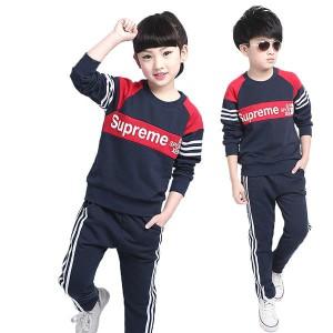 SUPREME 子供服 パーカー+ズボン 2点セット女の子 男の子 キッズ長袖 服ブランドスポーツウェア カジュアル