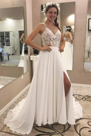 Elegant Spaghetti Straps V Neck Chiffon Appliques Split Side Wedding Dresses W455