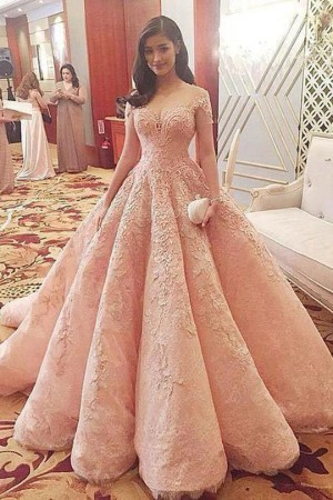 Gorgeous Sweetheart Short Sleeves A Line Ball Gown Long Prom Dress with Appliques P884