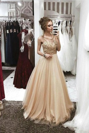 Delicate Round Neck Sleeveless Tulle A Line Long Prom Dress P883