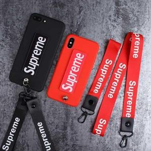 supreme iphone xs maxケース ストラップ付き シュプリーム iphone xr/xs保護カバー カップル向け ファ ...