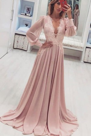Simple Deep V Neck Lace Prom Dress with Long Sleeves Party Dress P881