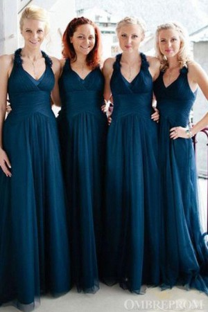Charming V Neck Tulle Floor Length Bridesmaid Dress Wedding Party Dress B471