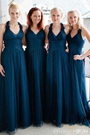 Charming V Neck Tulle Floor Length Bridesmaid Dress Wedding Party Dress B471