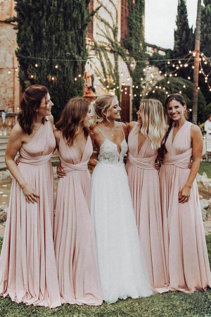 Elegant Light Pink Chiffon Floor Length Long Bridesmaid Dress B472
