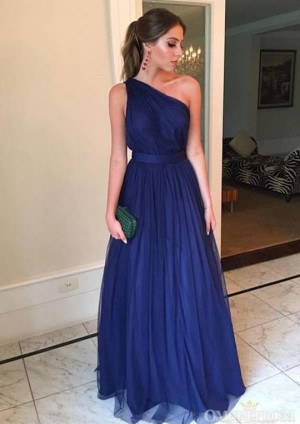 Navy Blue One Shoulder Sleeveless Floor Length Prom Dress D17