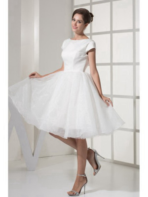 Knee length bridal dress with cap sleeves