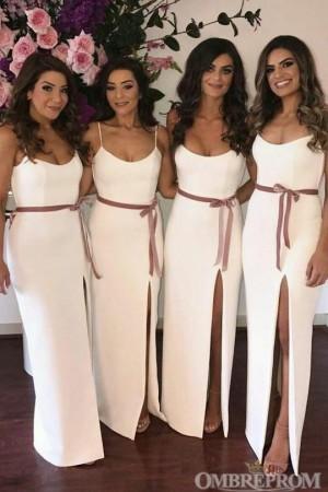 Simple Spaghetti Straps Sleeveless Bridesmaid Dress with Split Side B469