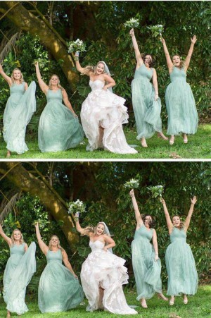 Simple V Neck Sleeveless Tulle Long Bridesmaid Dress B473
