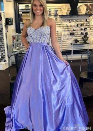 Stunning Sweetheart Sleeveless A Line Prom Dress with Beading D16