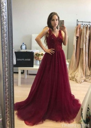 Burgundy Sparkly Deep V Back Evening Dress Sequins Prom Dress D19