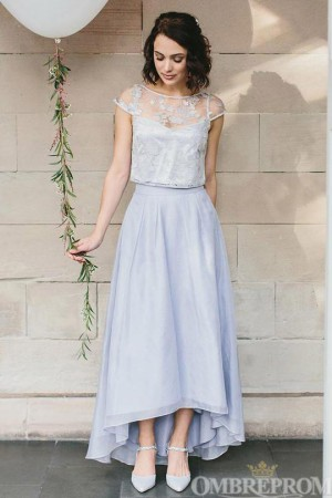Elegant Lace Round Neck Cap Sleeves Bridesmaid Dress B498