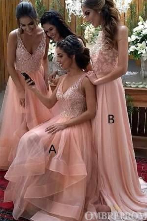 Sparkly V Neck Sleeveless Long Bridesmaid Dress with Ruffles B500