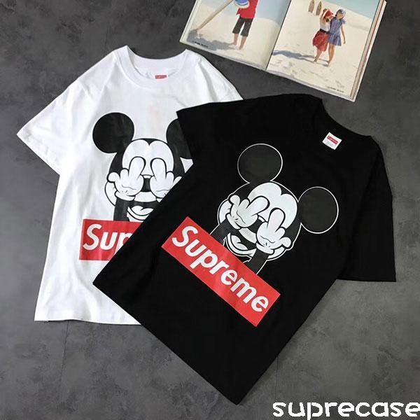 シュプリーム ミッキーコラボ Tシャツ 半袖 DISNEY mickey tシャツ 可愛い コットン カップル