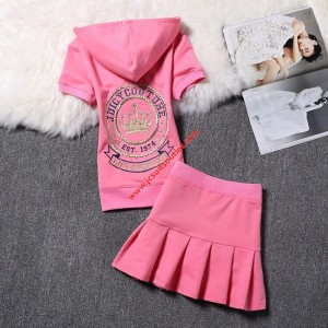 Juicy Couture Embroidery Crown Velour Tracksuit 2130 2pcs Women Suits Pink