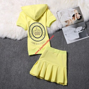Juicy Couture Embroidery Crown Velour Tracksuit 2130 2pcs Women Suits Yellow