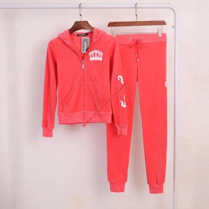 Juicy Couture Embroidery Juicy Crown Velour Tracksuit 2225 2pcs Women Suits Red