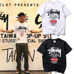 Supreme Stussyコラボ Tシャツ 半袖 プリントロゴ tシャツ メンズ レディース ティーシャツ