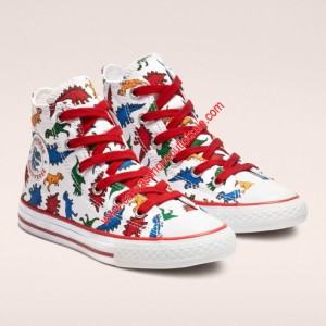 Converse Shoes Chuck Taylor All Star Dinoverse Junior Canvas High Top White