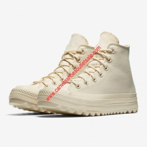 Converse Shoes Chuck Taylor All Star Lift Ripple OX Canvas High Top Beige