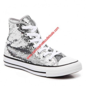 Converse Shoes Chuck Taylor All Star Sequins Canvas High Top Silver