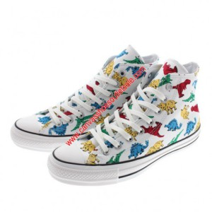 Converse Shoes Chuck Taylor All Star 100th Dinosaur Canvas High Top White