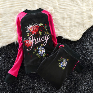 Juicy Couture Color-block Flowers Velour Tracksuit 6013 2pcs Women Suits Black and Rose