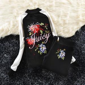 Juicy Couture Color-block Flowers Velour Tracksuit 6013 2pcs Women Suits Black and White