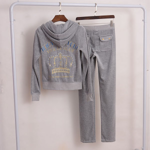 Juicy Couture Crown VIVA LA GLAM Velour Tracksuit 2pcs Women Suits Grey