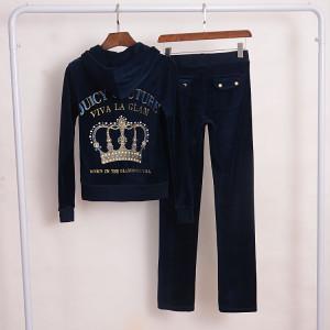 Juicy Couture Crown VIVA LA GLAM Velour Tracksuit 2pcs Women Suits Navy Blue