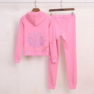 Juicy Couture Embroidery JC Velour Tracksuit 3225 2pcs Women Suits Pink