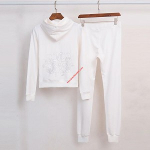 Juicy Couture Embroidery JC Velour Tracksuit 3225 2pcs Women Suits White
