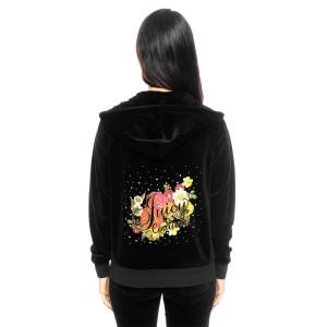 Juicy Couture Logo Flowers Velour Tracksuit 6137 2pcs Women Suits Black