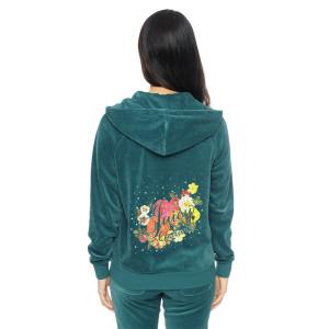 Juicy Couture Logo Flowers Velour Tracksuit 6137 2pcs Women Suits Green