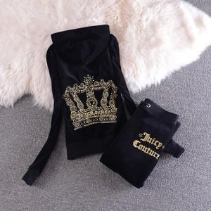 Juicy Couture Sequin Crown Velour Tracksuit 2205 2pcs Women Suits Black