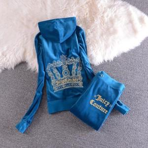 Juicy Couture Sequin Crown Velour Tracksuit 2205 2pcs Women Suits Blue