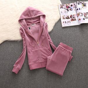 Juicy Couture Simple Pure Color Velour Tracksuit 611 2pcs Women Suits Cherry