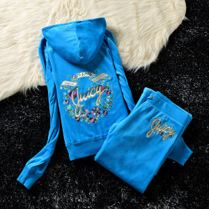 Juicy Couture Studded Colorful Flowers Velour Tracksuit 6012 2pcs Women Suits Blue