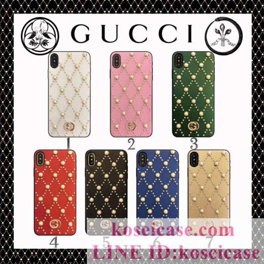 ブランド グッチ GUCCI iphoneXs max ケース 真珠 革製 iphone10s max/10 ケース レディース向け iphon ...
