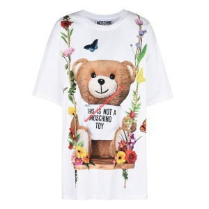 Moschino Botanical Bear Women Short Sleeves T-Shirt White