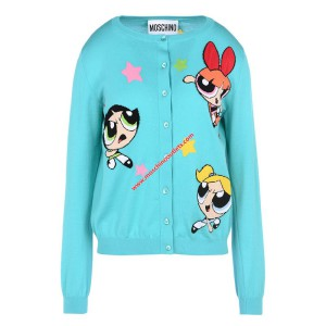 Moschino Powerpuff Girls Women Long Sleeves Cardigan Blue