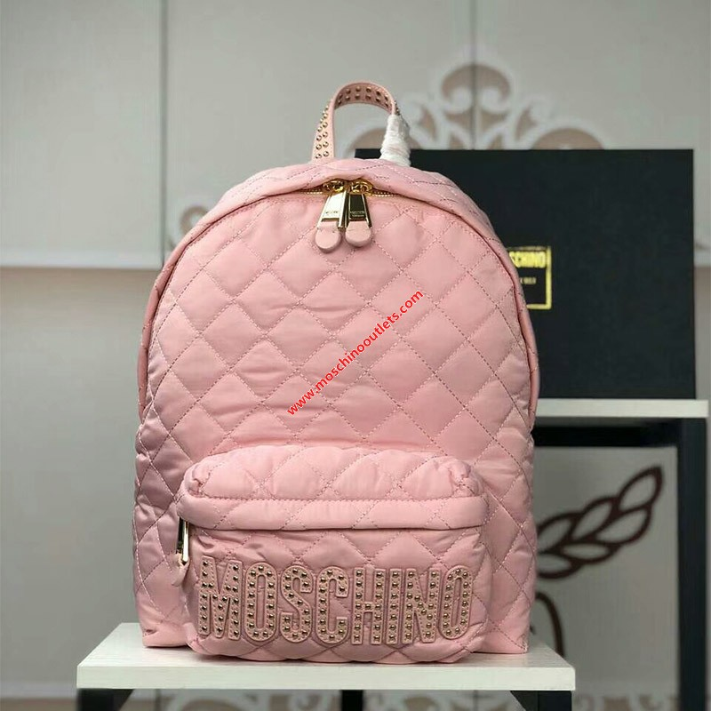 Moschino Studded Logo Women Quilted Techno Fabric Backpack Pink