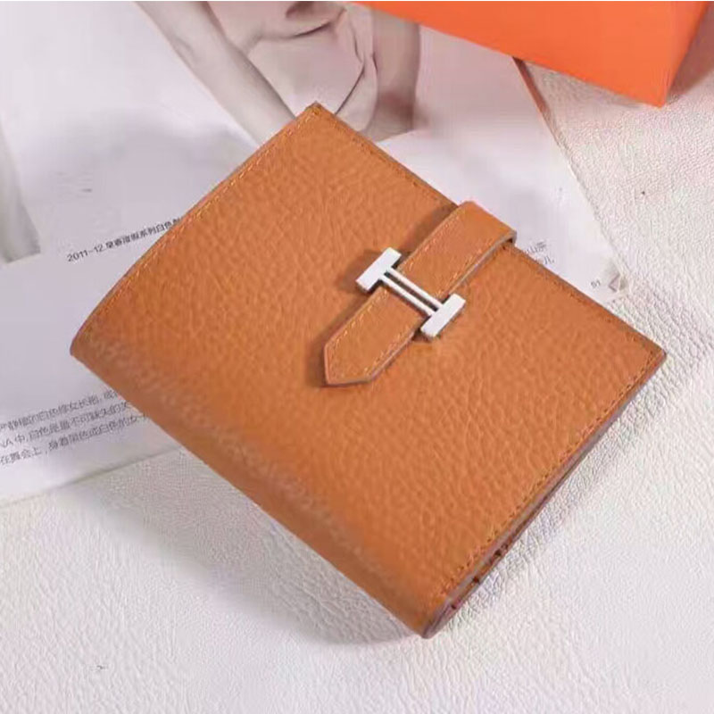 Hermes Bearn Compact Wallet Epsom Leather Palladium Hardware In Brown