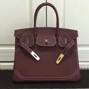 Hermes Birkin Bag Barenia Leather Gold Hardware In Red
