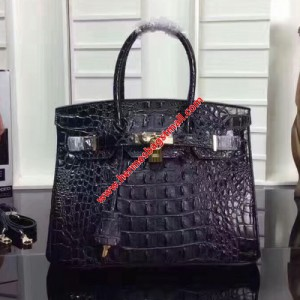 Hermes Birkin Bag Crocodile Leather Gold Hardware In Black