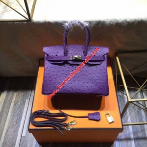 Hermes Birkin Bag Ostrich Leather Gold Hardware In Purple
