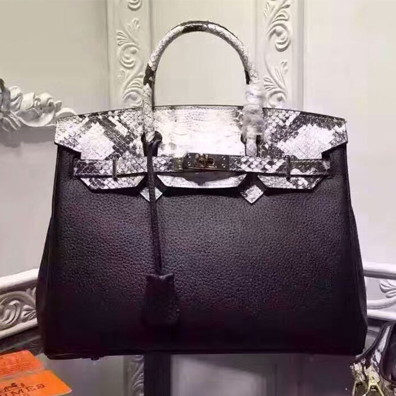 Hermes Birkin Bag Serpentine Leather Gold Hardware In Black