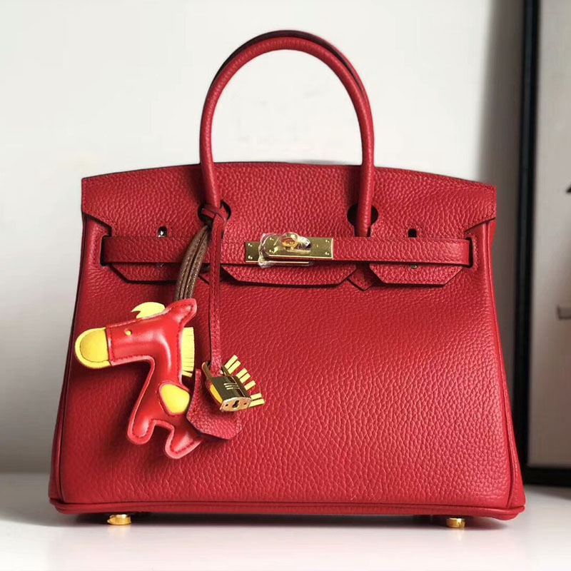 Hermes Birkin Bag Togo Leather Gold Hardware In Red