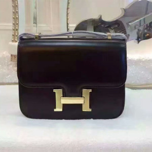 Hermes Constance Bag Box Leather Gold Hardware In Black